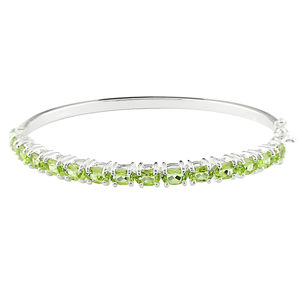 Click here for 7 1/2 CT TGW Peridot Bangle Silver prices