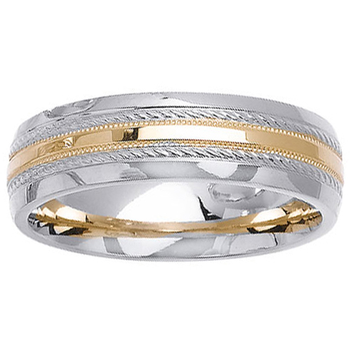 Two Tone 14K Designer Wedding Band
