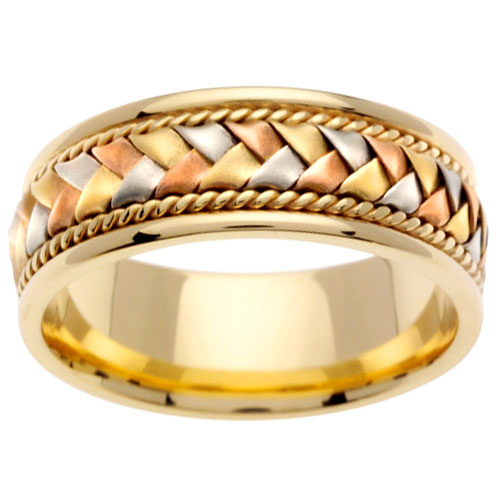 8.5mm Handmade Woven 14K Tri Color Gold Wedding Band - Men