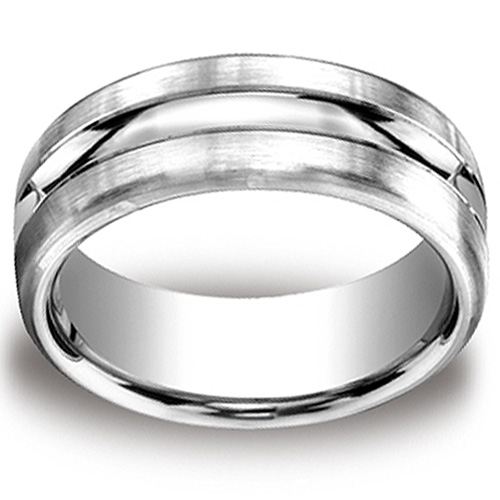 Rugged 10mm Satin Center Cut Comfort-Fit Argentium Silver Men's Ring