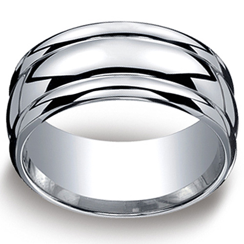 Men's 10mm Comfort-Fit High Polished Round Edge Argentium Silver Band