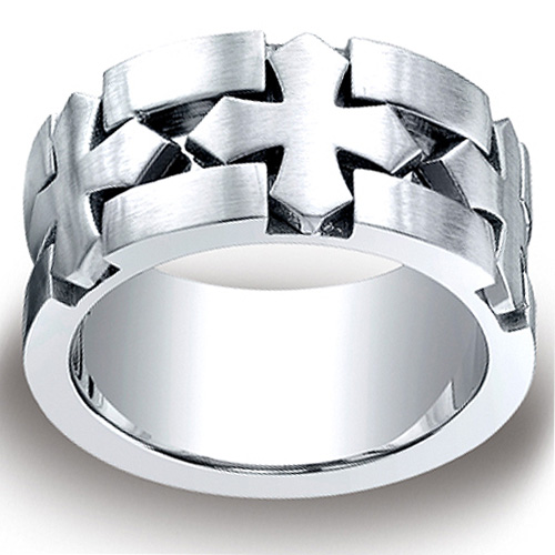 Cobaltchrome 10mm Comfort-Fit Satin Celtic Cross Benchmark Ring