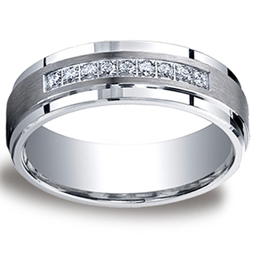 7mm Comfort-Fit Argentium Silver Pave 9-Diamond Wedding Band