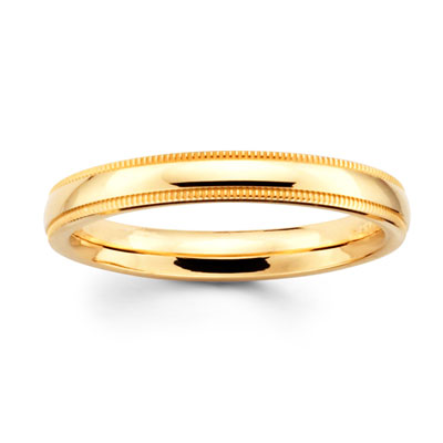 3mm Comfort-Fit Milgrain Yellow Gold Benchmark Band