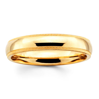 4mm Milgrain Yellow Gold Comfort Fit Benchmark Band