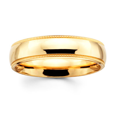 5mm Comfort Fit Milgrain Yellow Gold Benchmark Ring