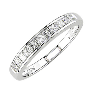 1/2ct TW Channel Princess Cut Diamond Anniversary Ring 14k White Gold