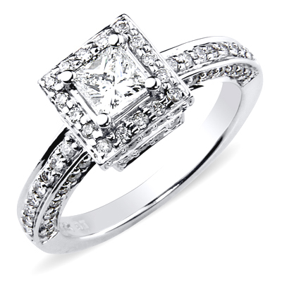 14K White Gold Halo Princess Cut Engagement Ring 1 ctw