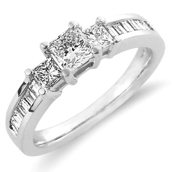 14K White Gold Princess Cut Three Stone Engagement Ring