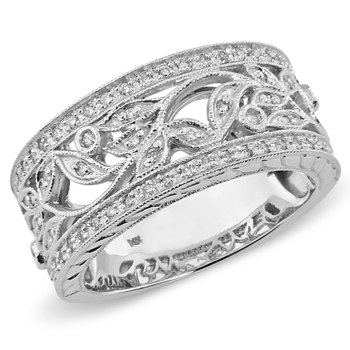 14K White Gold Art Deco Floral Diamond Ring Band 0.25ctw