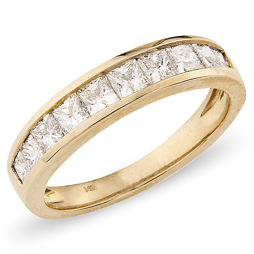 14K Yellow Gold 1.00ctw Princess Cut Channel Set Ring