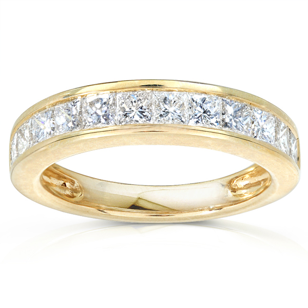 14K Yellow Gold 1 CTW Princess Diamond Channel Set Wedding Band