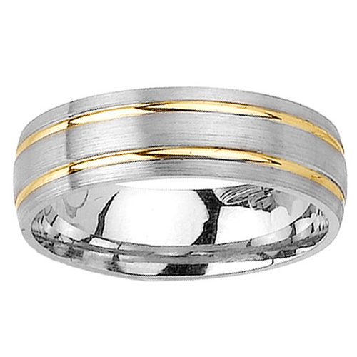 6.5mm Double Yellow Gold Inlay 14K Two Tone Gold Ring