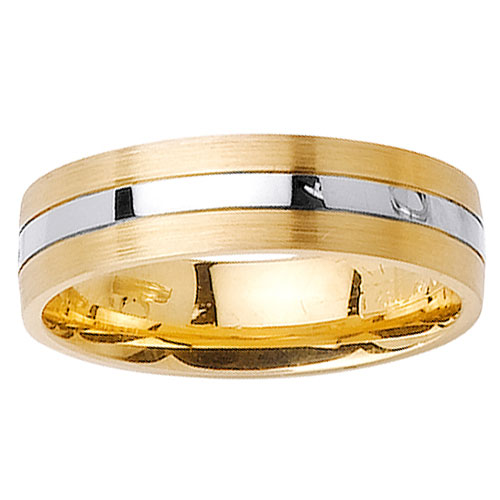 6mm White Inlay 14K Two Tone Gold Wedding Band