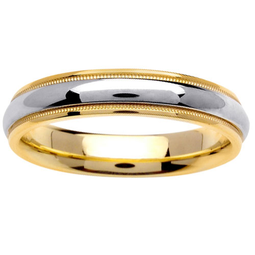 4.5mm Milgrain Domed 14K Two Tone Gold Wedding Band