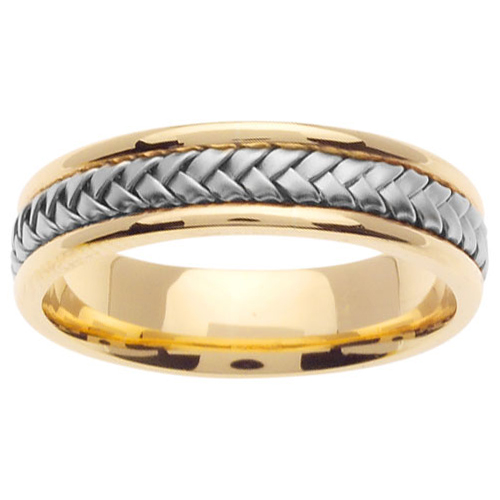 5.5mm Modern 14K Two Tone Gold White Braided Wedding Band