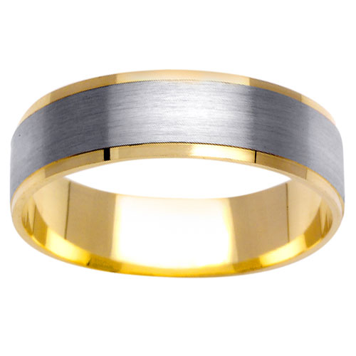 6mm 14K Two Tone Gold Wedding Band