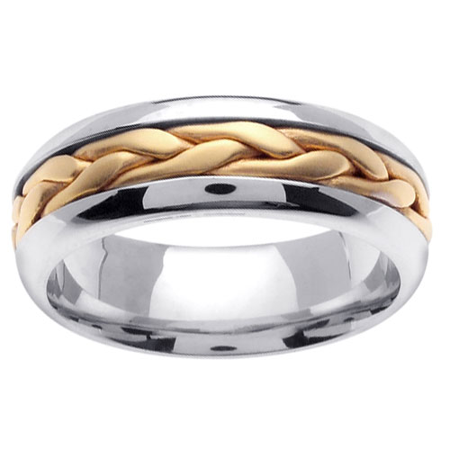 7mm Contemporary Yellow Woven Inlay 14K Two Tone Gold Wedding Band