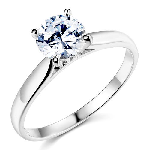 Sterling Silver Round-Cut Cathedral Set Solitaire CZ Engagement Ring