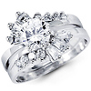 14K White Gold Bypass Round & Baguette CZ Wedding Ring Set