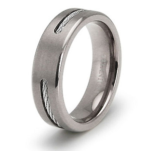 Titanium Cable Inlay 6.5mm Wedding Ring