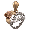 Heart Love and Rose Tri Color Pendant
