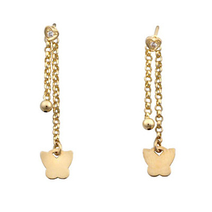 14k Yellow Gold Butterfly Adjustable Drop Earrings