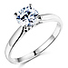 Sterling Silver Round-Cut Cathedral Set Solitaire CZ Engagement Ring thumb 0