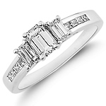 14K Channel Set Emerald Cut Diamond Engagement Ring