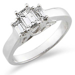 Classic Three Stone Emerald Cut Engagement Ring