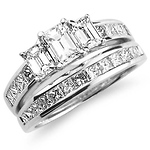 14K White Gold Three-Stone Diamond Wedding Ring Set