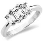 Classic 14K White Gold 3 Stone Emerald Cut Engagement Ring