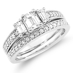 Emerald Cut 14K White Gold Diamond Engagement Ring Set