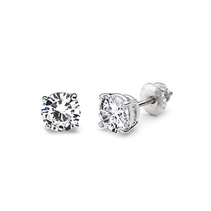 14K 4 Prong Round Solitaire Diamond Stud Earrings 0.75ctw