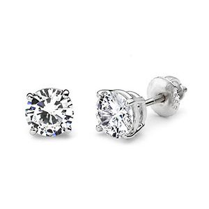14K 4 Prong Round Solitaire Diamond Stud Earrings 1.50ctw