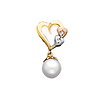 Tri Color Heart and Pearl Charm