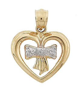 Heart Ribbon White Pave Gold Charm