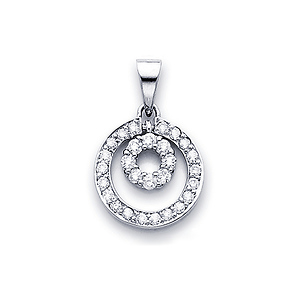 14K White Gold Diamond Circle Pendant (0.45 ctw)