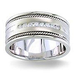 Diamond Wedding Band 14K White Gold 0.32 TCW