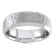 Hammered Finish <br>6.50 mm 14K White Gold Wedding Band