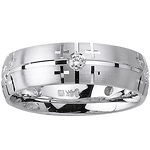 Diamond Bezel Cross Design 14K White Gold Wedding Band