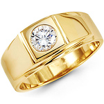 14K Yellow Gold Single Round CZ Ring