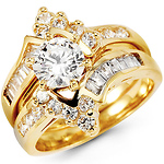 14K Yellow Gold Round Center CZ Wedding Ring Set