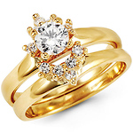 14K Yellow Gold White CZ Wedding Ring Set