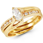 14K Yellow Gold Bypass Marquise-Cut CZ Wedding Ring Set