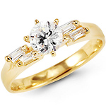 14K Yellow Gold Round CZ Ring