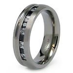 Black and White CZ Stone Channel Set Titanium Band