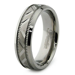 Carved 6.5mm Titanium Wedding Band