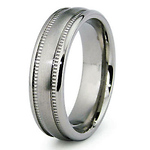 Milgrain Satin & High Polish Titanium  Wedding Ring