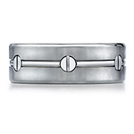 Nail Head Design Titanium Benchmark Wedding Ring